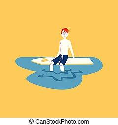 karikatúra, lábak, ember, bevétel, bizottság, pasas, rest., ülés, maradék, hullámlovas, víz, övé