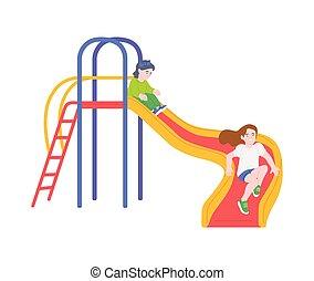 karikatúra, lefelé, játék, gyerekek, csúszás, -, csúszó, gyerekek, színes