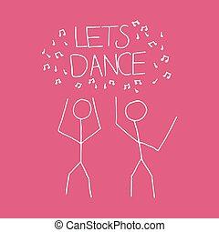 karikatúra, lets, táncol, ábra