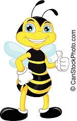 karikatúra, méh, feláll, lapozgat