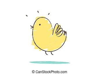 karikatúra, madár slicc, fehér, csinos, betű, háttér, ikon, cél, illustration., sárga, elszigetelt, kevés