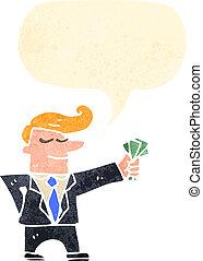 karikatúra, maréknyi, készpénz, ember, illeszt