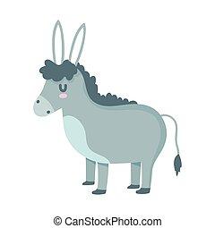 karikatúra, megművel állat, belföldi, szamár