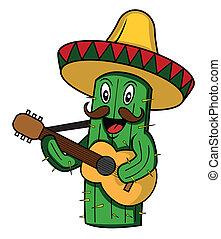karikatúra, mexikó, vektor, kaktusz
