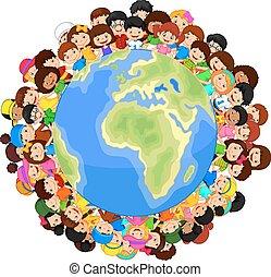 karikatúra, multicultural, p, gyerekek