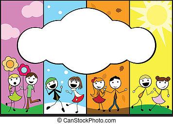 karikatúra, négy, bot, háttér, fűszerezni, gyerekek