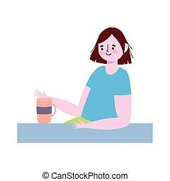 karikatúra, nő, kávécserje, egyedül, ivás, ablak