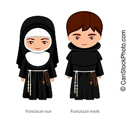 karikatúra, nun., woman., szerzetes, ferences, ember, character., catholics., vallásos