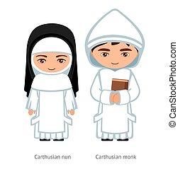 karikatúra, nun., woman., szerzetes, kartauzi, ember, character., catholics., vallásos