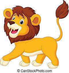karikatúra, oroszlán, gyalogló