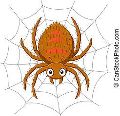 karikatúra, pókháló, pók