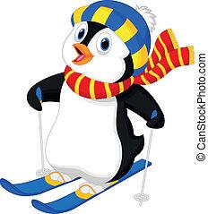 karikatúra, pingvin, síelés