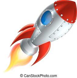karikatúra, rakéta, világűr hajó
