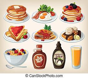 karikatúra, reggeli, állhatatos, klasszikus