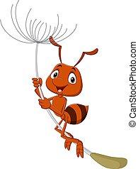 karikatúra, repülés, gyermekláncfű, hangya, csinos