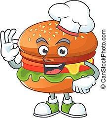 karikatúra, séf, fehér, hamburger, kalap, film, betű, fárasztó