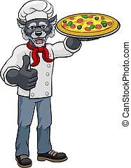 karikatúra, séf, kabala, pizza, farkas, étterem