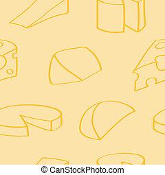 karikatúra, sajt, háttér, seamless