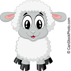 karikatúra, sheep, csinos