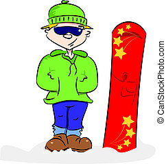 karikatúra, snowboarder