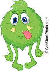 karikatúra, szőrös, zöld szörny