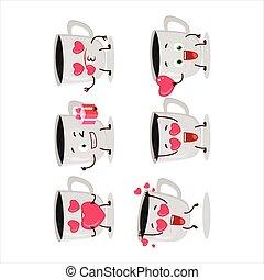 karikatúra, szeret, kávécserje, betű, emoticon, csinos