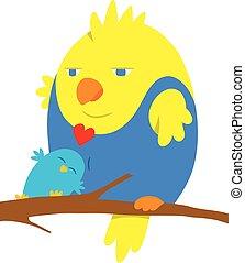karikatúra, szeret madár, két