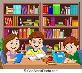karikatúra, tanulás, könyvtár, gyerekek