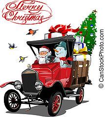 karikatúra, vektor, csereüzlet, retro, karácsonyi üdvözlőlap
