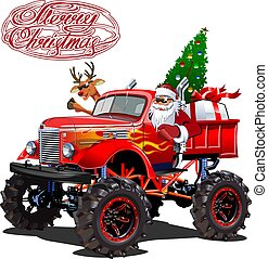 karikatúra, vektor, retro, karácsonyi üdvözlőlap, monstertruck