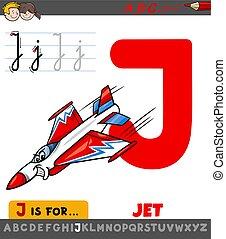 karikatúra, worksheet, j, sugárhajtású repülőgép, levél