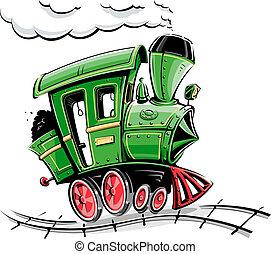 karikatúra, zöld, lokomotív, retro