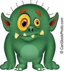 karikatúra, zöld szörny