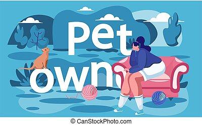 karosszék, cica, utca., leány, woman külső, macska, maradék, tulajdonos, ülés