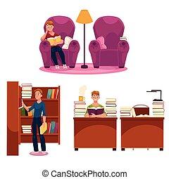 karosszék, -, könyvtár, könyvespolc, felolvasás, ember, asztal