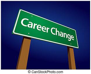 karrier, ábra, aláír, zöld, cserél, út