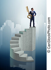 karrier, üzletember, tető, kulcs, siker
