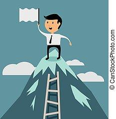 karrier, lakás, sikeres, tető, vektor, tervezés, üzletember
