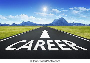 karrier, szöveg, út, horizont
