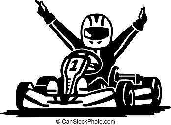kart, nyertes, versenyzés