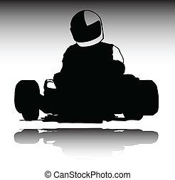 karting, körvonal, vektor, sport
