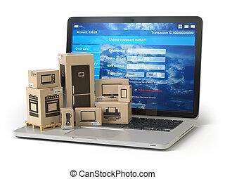 kartonpapír ökölvívás, bevásárlás, e-commerce, appliaces, concept., számítógép, keyboard., online, laptop, felszabadítás