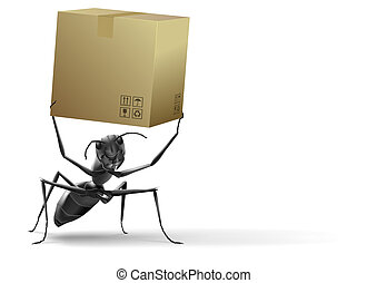 kartonpapír, emelés, doboz, hangya, kicsi