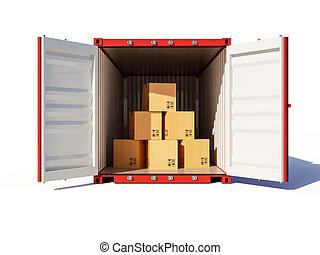 kartonpapír, kinyitott, konténer, rakomány