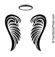 kasfogó, dicsfény, vektor, pár, angyal