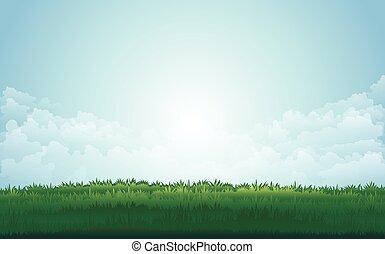 kaszáló, nyár, csúcs, hegy, ábra, vektor, zöld parkosít, sunset.