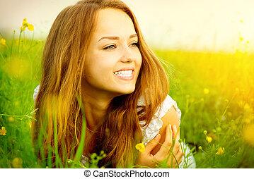 kaszáló, szépség, zöld, leány, fű, fekvő