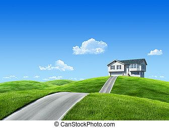 kaszáló, természet, épület, 7000px, -, gyűjtés, zöld