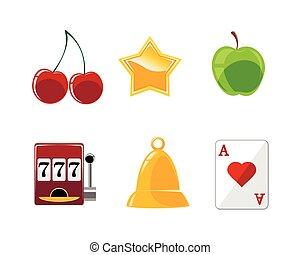 kaszinó, hat, állhatatos, ikonok