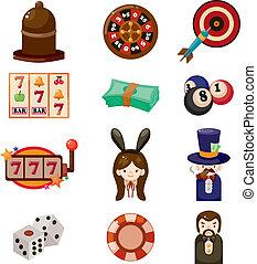kaszinó, karikatúra, ikon